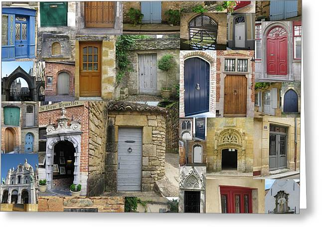 Photographs With Red. Greeting Cards - Doors Collage Greeting Card by Cathy Jacobs