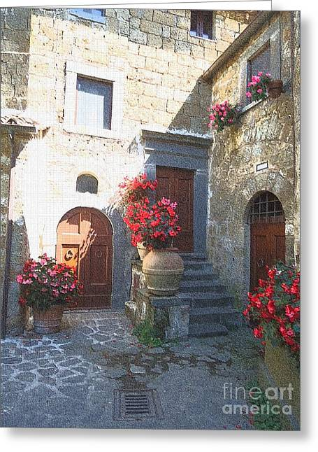 Stepping Stones Greeting Cards - Doors in Bagnoregio Greeting Card by Barbie Corbett-Newmin