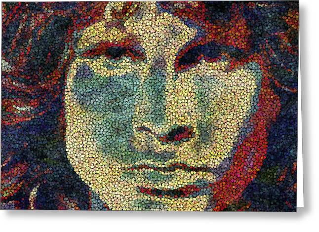 Music History Greeting Cards - Doors Jim Morrison  Greeting Card by Jack Zulli