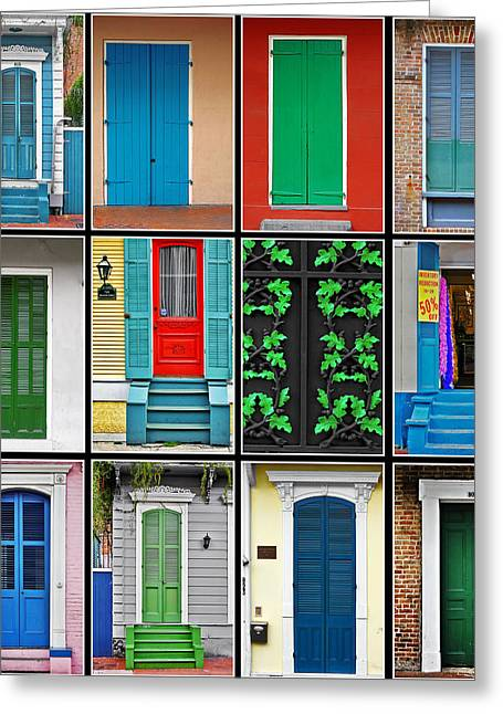 Collages Greeting Cards - Doors New Orleans Greeting Card by Christine Till