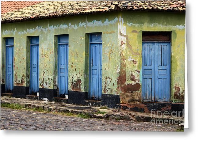 Old Door Greeting Cards - Doors Of Alcantara Brazil 4 Greeting Card by Bob Christopher