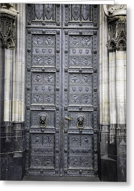 Medieval Entrance Greeting Cards - Doors of Cologne 04 Greeting Card by Teresa Mucha