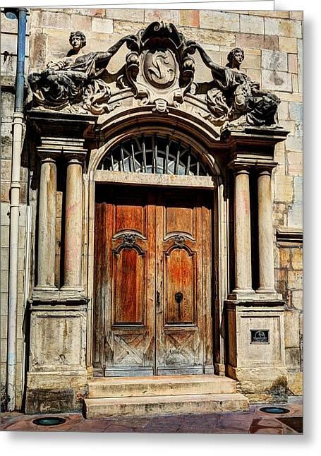 France Doors Greeting Cards - Doors Of Dijon Greeting Card by Mel Steinhauer