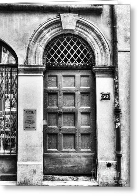 France Doors Greeting Cards - Doors Of Old Lyon BW Greeting Card by Mel Steinhauer