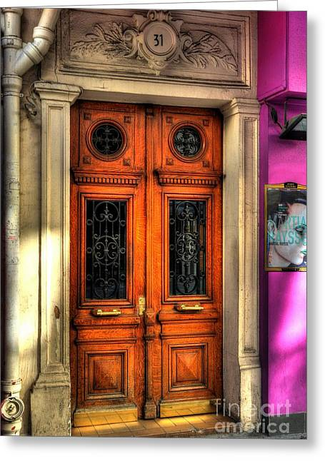France Doors Greeting Cards - Doors Of Rue Cler 2 Greeting Card by Mel Steinhauer