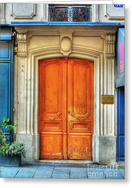 France Doors Greeting Cards - Doors Of Rue Cler 3 Greeting Card by Mel Steinhauer