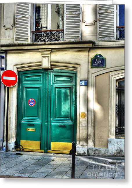 France Doors Greeting Cards - Doors Of Rue Cler Greeting Card by Mel Steinhauer