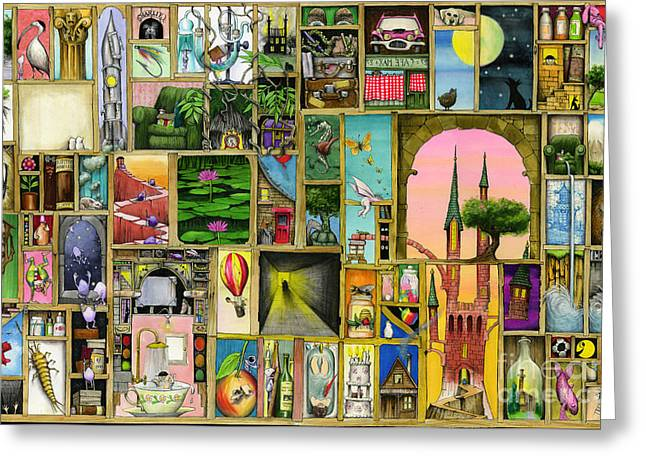 Collage Greeting Cards - Doors Open Greeting Card by Colin Thompson