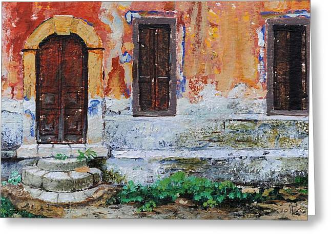 Entrance Door Greeting Cards - Doorway, Corfu, 2006 Oil On Paper Greeting Card by Trevor Neal