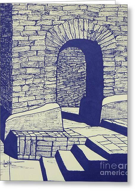 Adobe Drawings Greeting Cards - Doorway in Old Pecos Mission Greeting Card by Lorita Montgomery