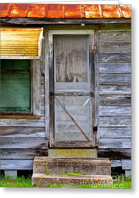 Screen Doors Greeting Cards - Doorway into the Past Greeting Card by AnnaJo Vahle