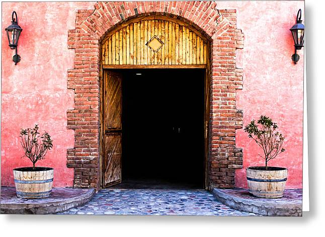 Malbec Photographs Greeting Cards - Doorway to a Winery Greeting Card by Jaime Taylor
