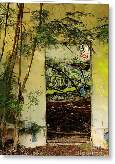 Overgrown Greeting Cards - Doorway to Abandonment Greeting Card by Cheryl Young