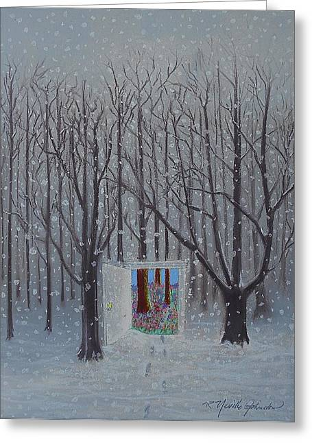 Snow Tree Prints Pastels Greeting Cards - Doorway to Springtime Greeting Card by R Neville Johnston