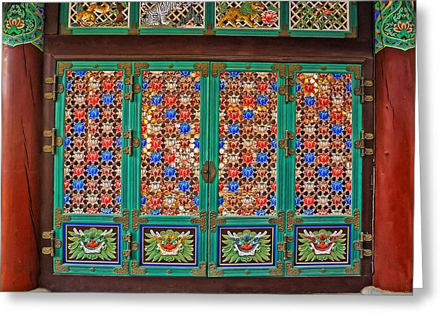 Ru Greeting Cards - Doorway to the Dharma King Pavilion Greeting Card by Tony Crehan