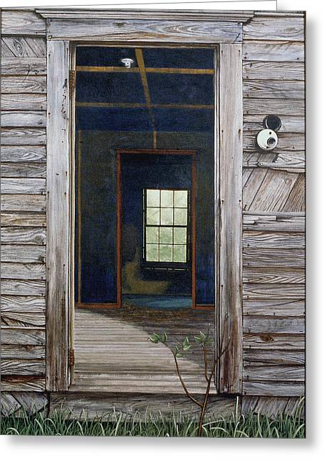 Egg Tempera Paintings Greeting Cards - Doorway to the Past Greeting Card by Peter Muzyka