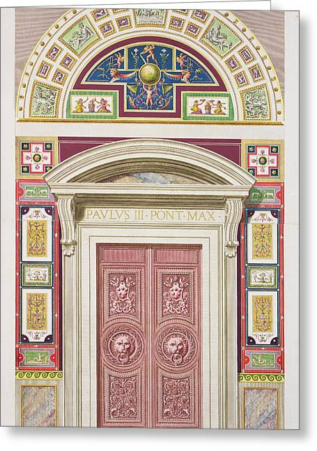 Console Greeting Cards - Doorway To The Raphael Loggia Greeting Card by G. & Camporesi, P. Savorelli
