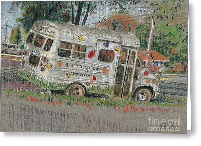 Day Pastels Greeting Cards - DoodleBugs Bus Greeting Card by Donald Maier