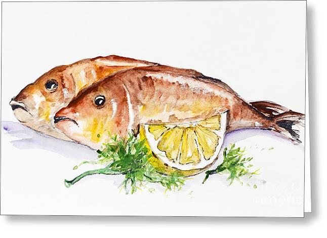 Lemon Art Greeting Cards - Dorado fish Greeting Card by Irina Gromovaja