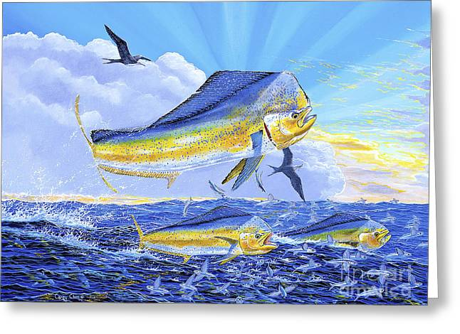 Salmon Paintings Greeting Cards - Dorado Sunrise Off0098 Greeting Card by Carey Chen