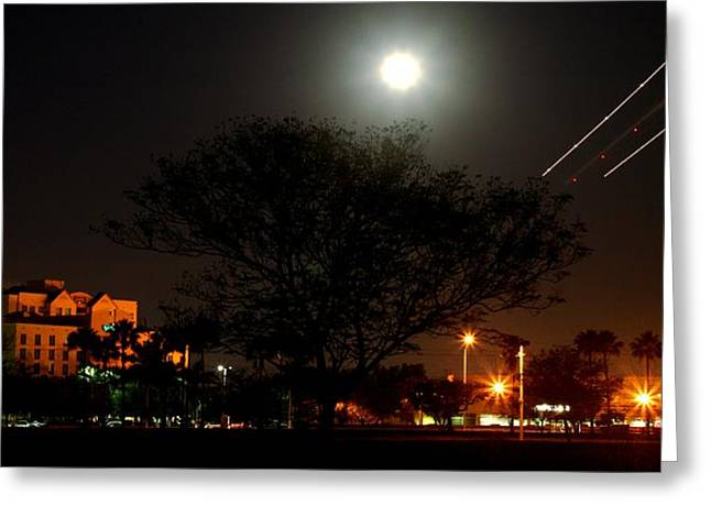 Gilberto Greeting Cards - Doral with Moon and Plane Greeting Card by Gilberto Gutierrez