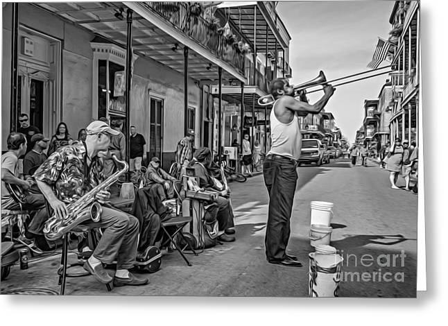 Husband Digital Art Greeting Cards - Doreens Jazz New Orleans - Oil bw Greeting Card by Steve Harrington