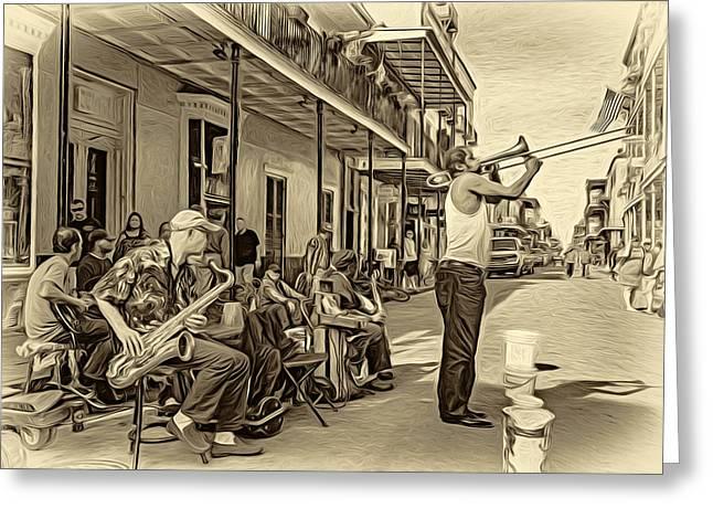 Husband Digital Art Greeting Cards - Doreens Jazz New Orleans - Paint bw Greeting Card by Steve Harrington