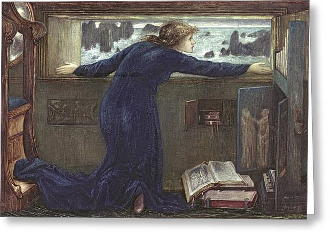Burne Greeting Cards - Dorigen of Bretaigne longing for the Safe Return of her Husband Greeting Card by Sir Edward Coley Burne-Jones