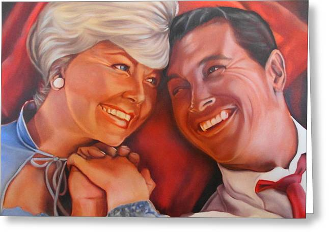 Doris Day Paintings Greeting Cards - Doris Day And Rock Hudson Greeting Card by Mark Robinson