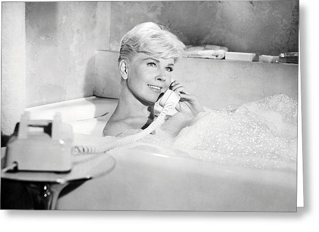 Pillow Greeting Cards - Doris Day in Pillow Talk  Greeting Card by Silver Screen