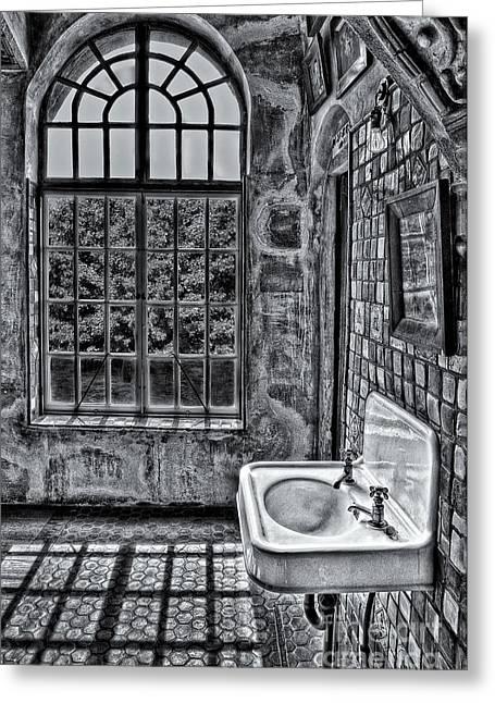Byzantine Greeting Cards - Dormer Bathroom Side View BW Greeting Card by Susan Candelario