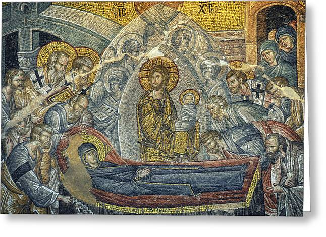 Jesus Christ Icon Greeting Cards - Dormition of the Virgin Greeting Card by Taylan Soyturk