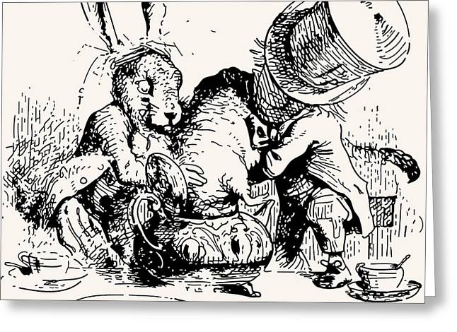March Hare Greeting Cards - Dormouse in the Teapot Mad Tea Party Greeting Card by John Tenniel