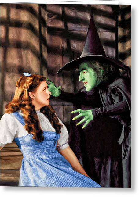 Wicked Witch Of The West Greeting Cards - Dorothy and the Wicked Witch Greeting Card by Dominic Piperata