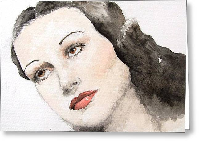 1950s Portraits Paintings Greeting Cards - Dorothy Lamour Greeting Card by Natalia Chaplin