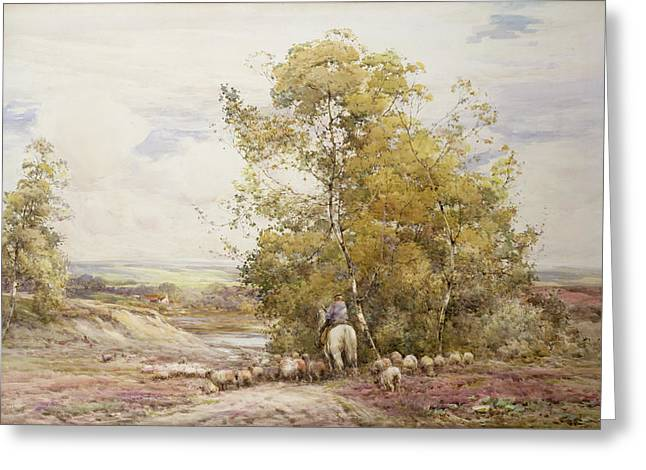 Horseback Photographs Greeting Cards - Dorset Pastoral Wc On Paper Greeting Card by Claude Hayes