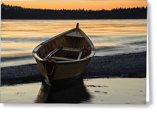 Lubec Greeting Cards - Dory at Dawn Greeting Card by Marty Saccone
