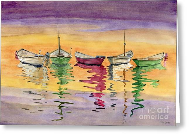 Maine Beach Greeting Cards - Dory Colors Greeting Card by Melly Terpening