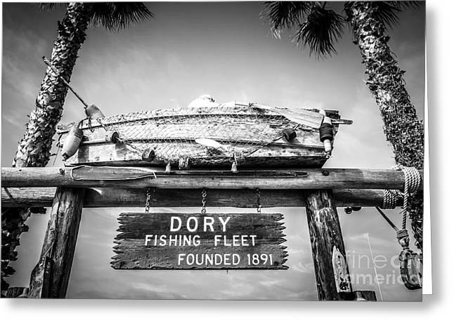 American Fleet Greeting Cards - Dory Fishing Fleet Black and White Picture Greeting Card by Paul Velgos