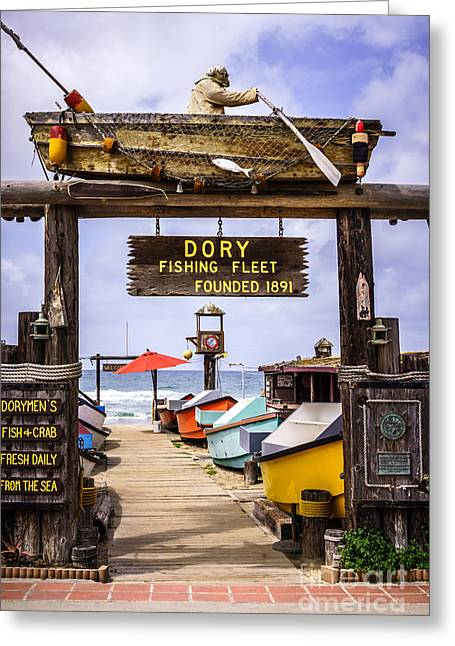 Historic Landmarks Greeting Cards - Dory Fishing Fleet Market Newport Beach California Greeting Card by Paul Velgos