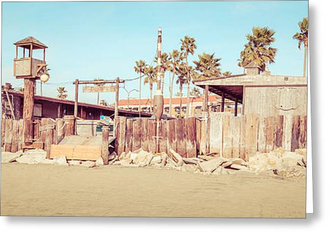 Fish Market Greeting Cards - Dory Fishing Fleet Market Newport Beach Panorama Greeting Card by Paul Velgos