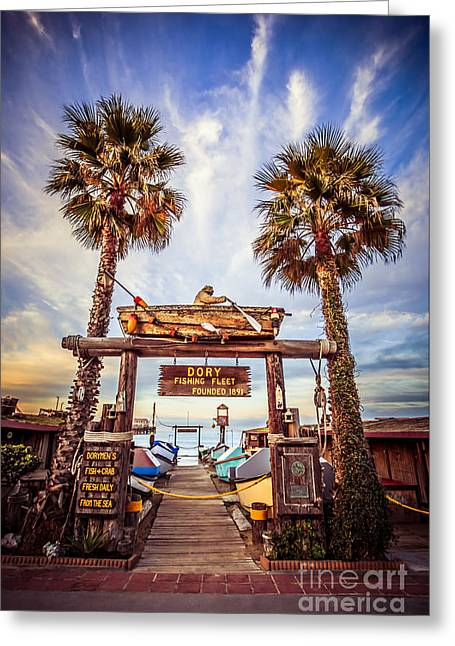 Fish Market Greeting Cards - Dory Fishing Fleet Market Picture Newport Beach Greeting Card by Paul Velgos