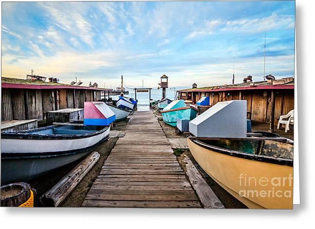 Dory Fishing Fleet Newport Beach California Greeting Card by Paul Velgos
