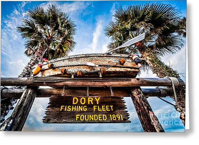 California Beach Image Greeting Cards - Dory Fishing Fleet Sign Newport Beach Balboa Peninsula Californi Greeting Card by Paul Velgos