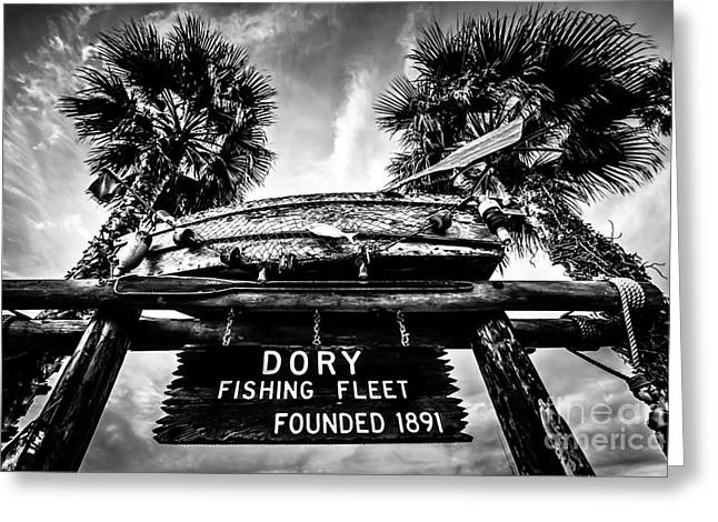 Fish Market Greeting Cards - Dory Fishing Fleet Sign Picture in Newport Beach Greeting Card by Paul Velgos