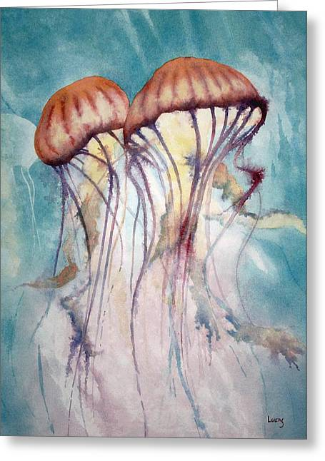 Jelly Fish Greeting Cards - Dos Jellyfish Greeting Card by Jeff Lucas