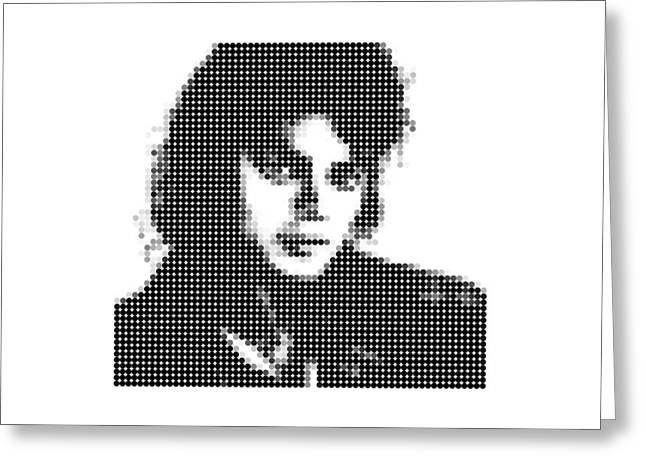 Jacko Digital Art Greeting Cards - Michael Jackson - Dot Portrait Greeting Card by Agus Shodikin