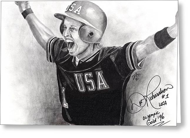 Softball Drawings Greeting Cards - Dot Richardson Gold Greeting Card by Devin Millington