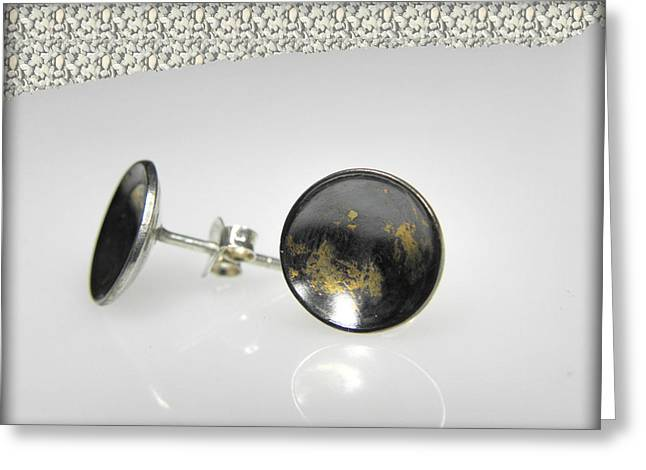 Pretty Jewelry Greeting Cards - dotted sterling silver earrings with touch of 24K gold Greeting Card by Vesna Kolobaric