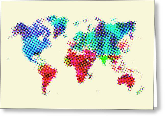Atlas Greeting Cards - Dotted World Map 2 Greeting Card by Naxart Studio